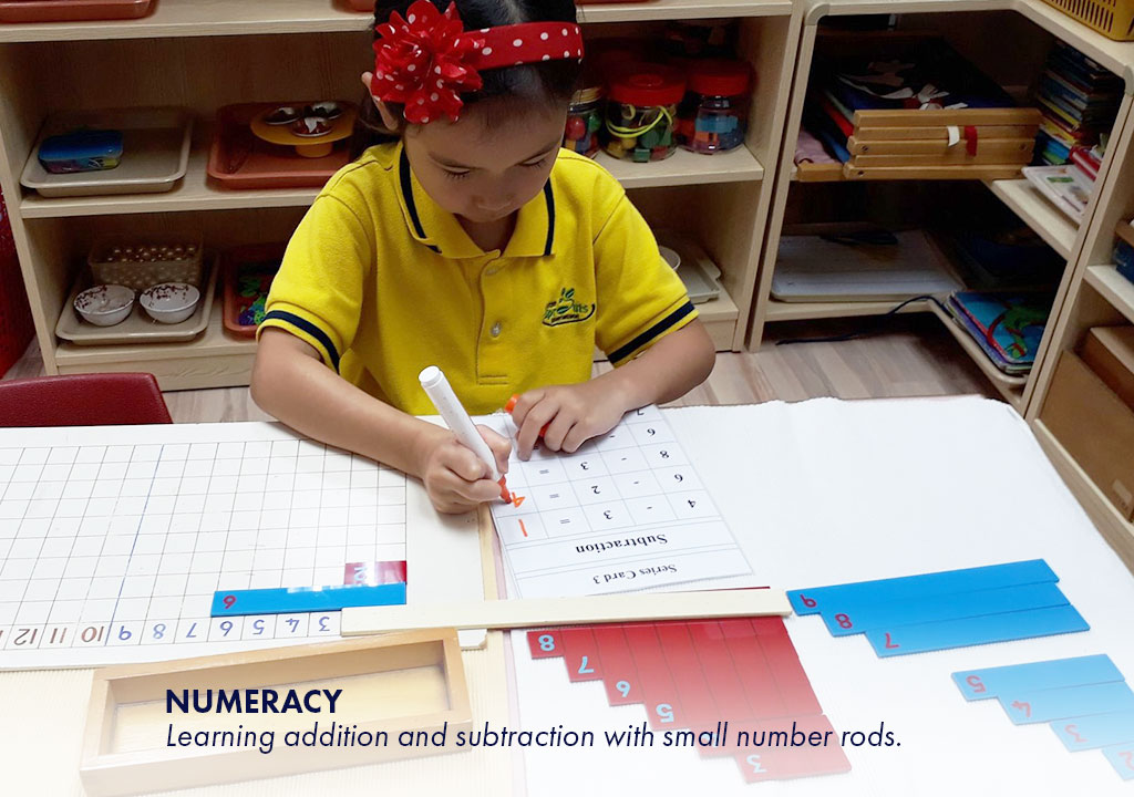 Numeracy - Learning addition and subtraction with small number rods.